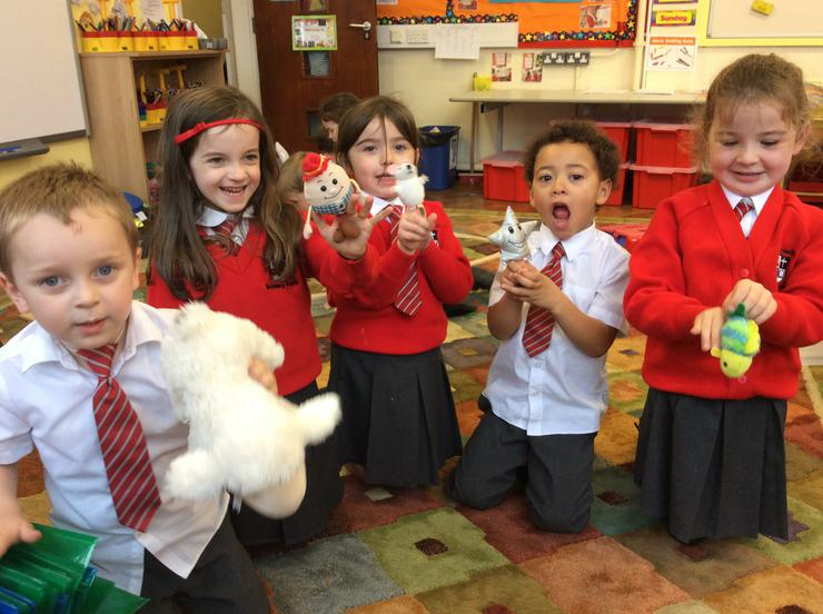 Having fun with nursery Rhyme puppets
