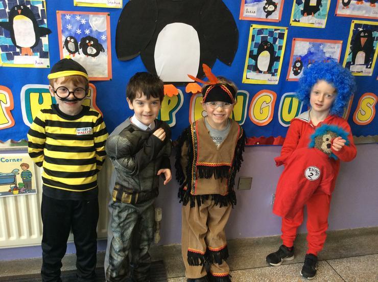 Waldo, batman, an indian and thing 1