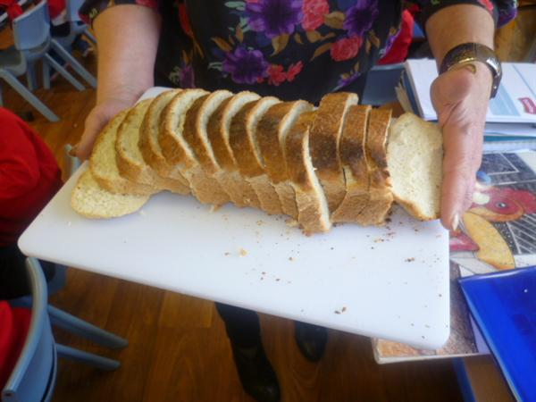 Finally, slice the bread.