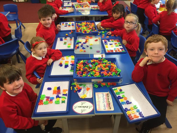 We love using magnetic letters to try new words