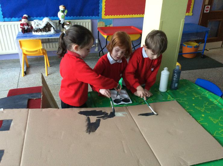 Busy painting our castle walls