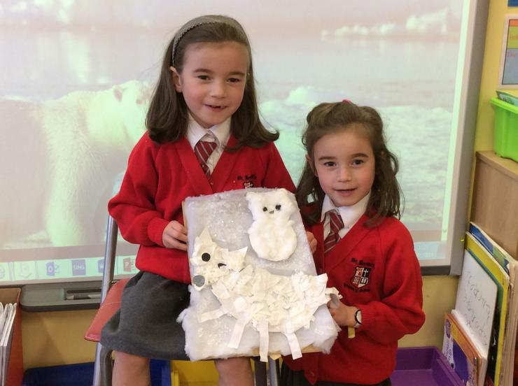 The girls worked together to create a collage