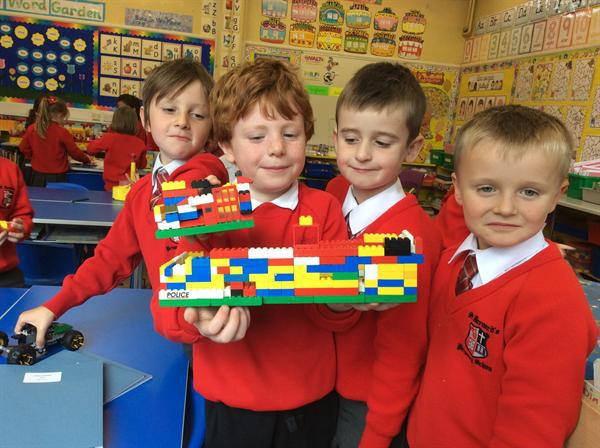 Working together to build lego houses