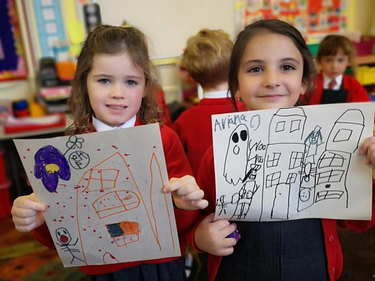 Fantastic spooky house drawings