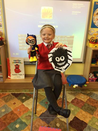 Caoimhe showed us incy wincy spider and bat girl