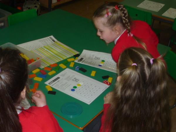 We subtracted the numbers on the dominoes