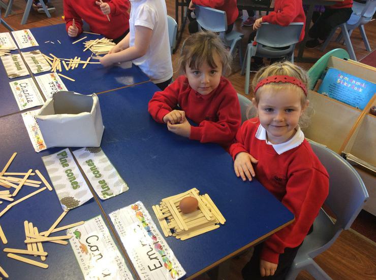 Making Humpty's Wall using lolly pop sticks