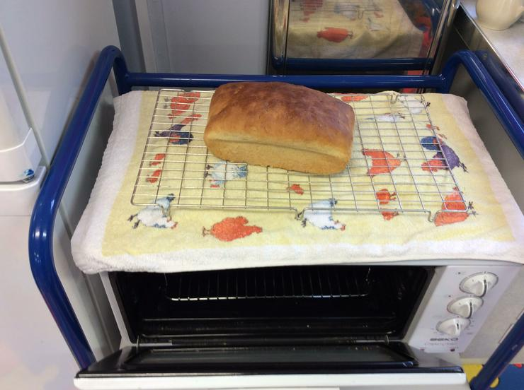 The bread out of the oven