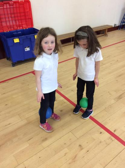 The girls mastered waddling with an egg