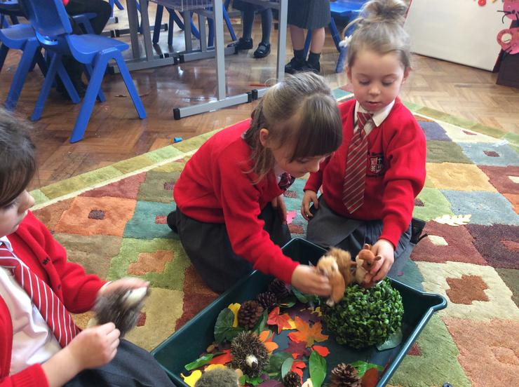 Small world play with squirrels and hedgehogs