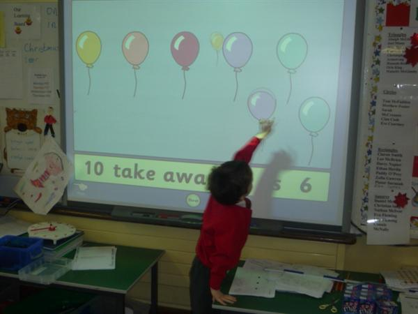 IWB for subtraction problems- much more fun!!!