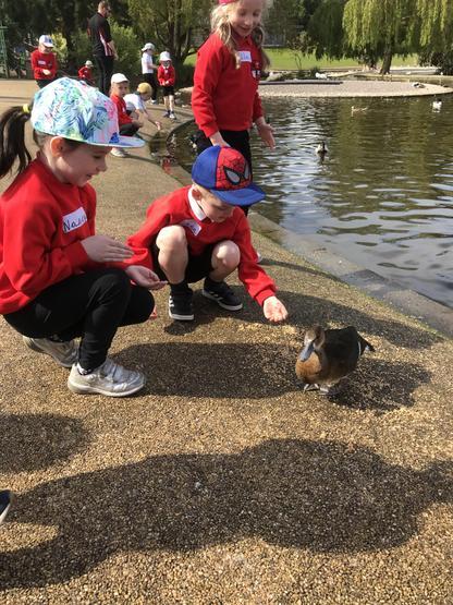 Nancy and Ronan loved feeding the ducks