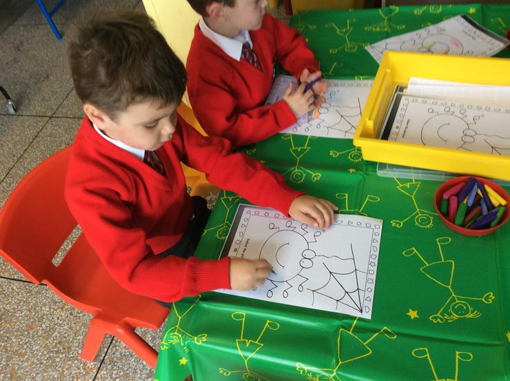 Incy wincy spider colouring
