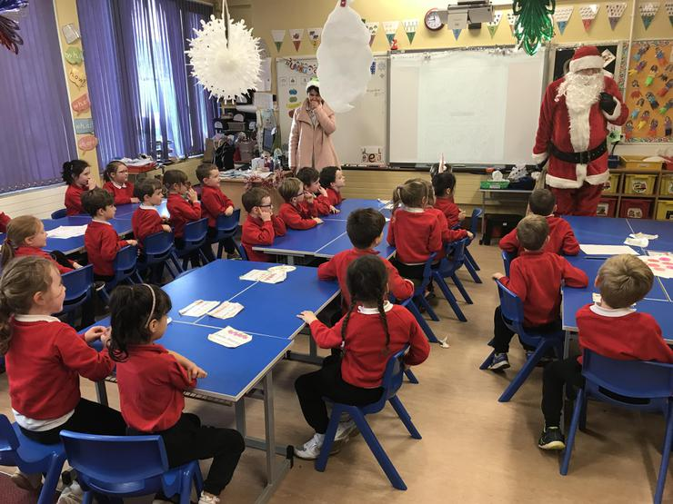 We were surprised to see Santa in our classroom!