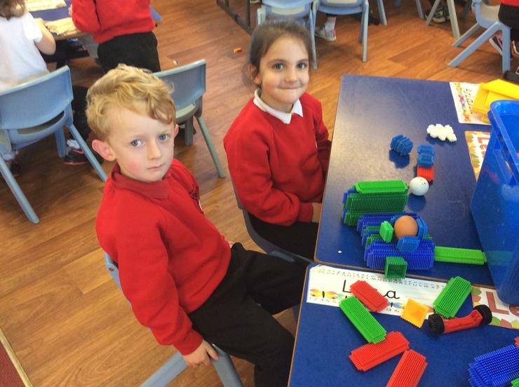 Making Humpty's Wall with sticklebricks
