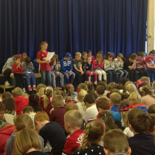Red, White and Blue Day worship by Forces children