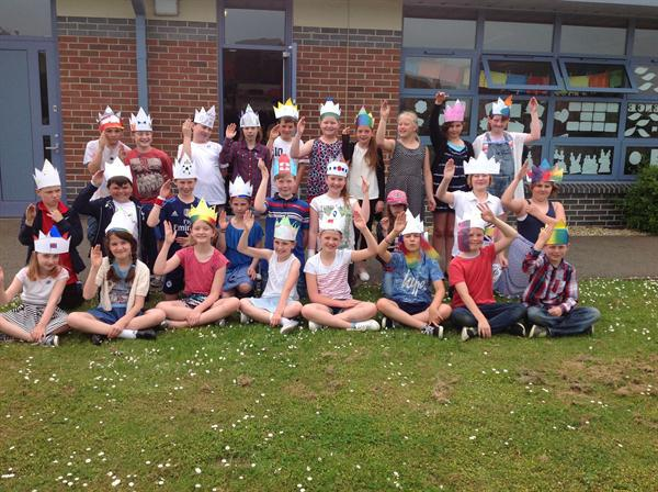 Year 5 wearing red, white and blue