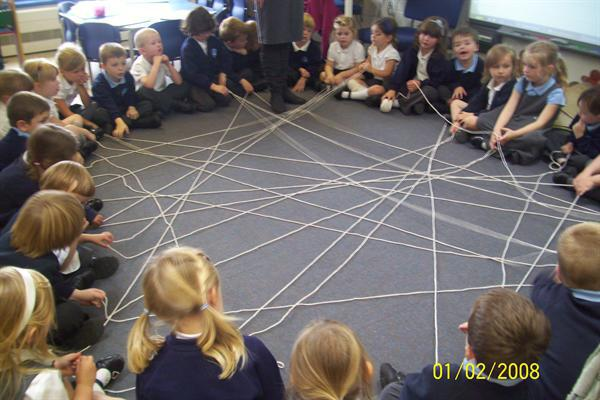 We made a super class spider web!