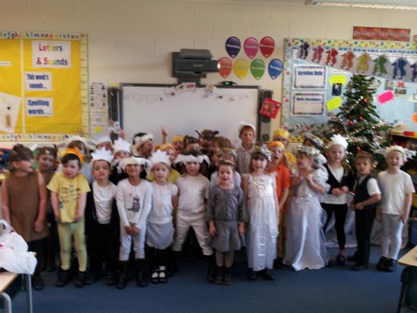Miss Harris' class in Mend the Manger costumes