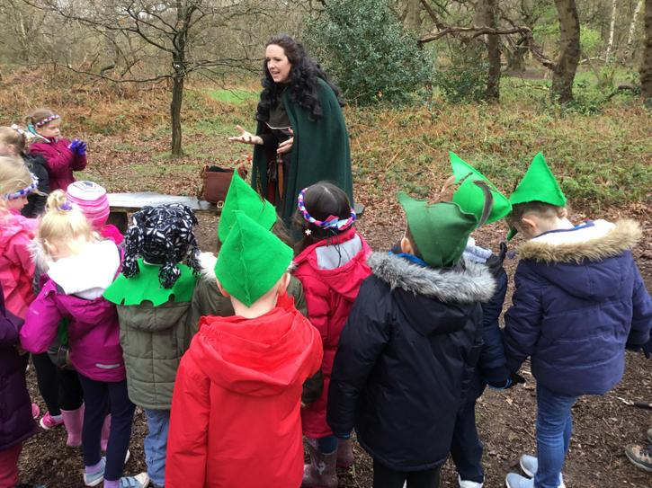 Hearing the story of Robin Hood and Little John