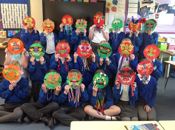 Our fabulous Chinese New Year dragon masks!