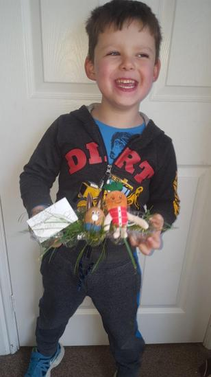Declan proudly showing his entry!