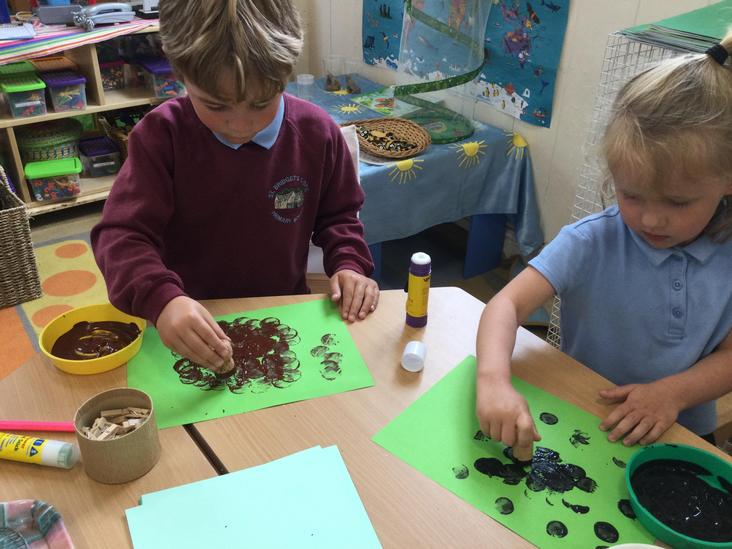Creating our Lost Sheep by printing with corks
