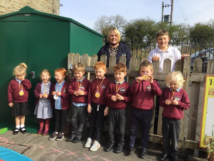 Mrs Ostle and Kane provided Easter egg hunt medals for us.