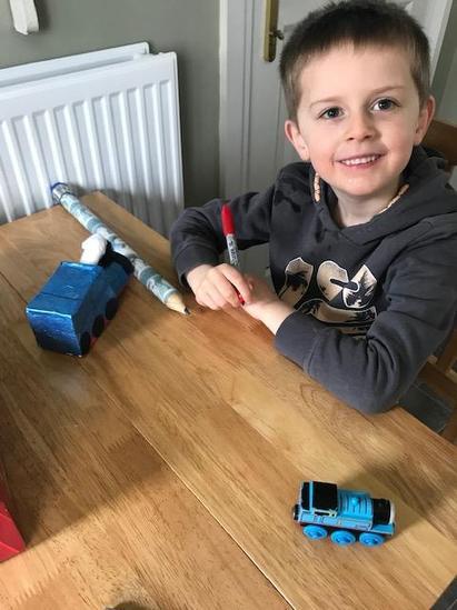 Matthew planning his design!