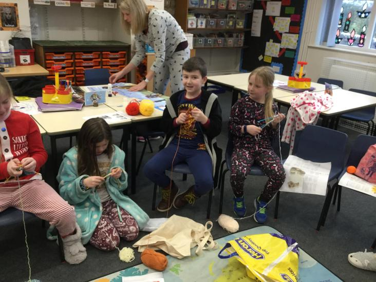 We knitted in our pyjamas on St Bridget's Day