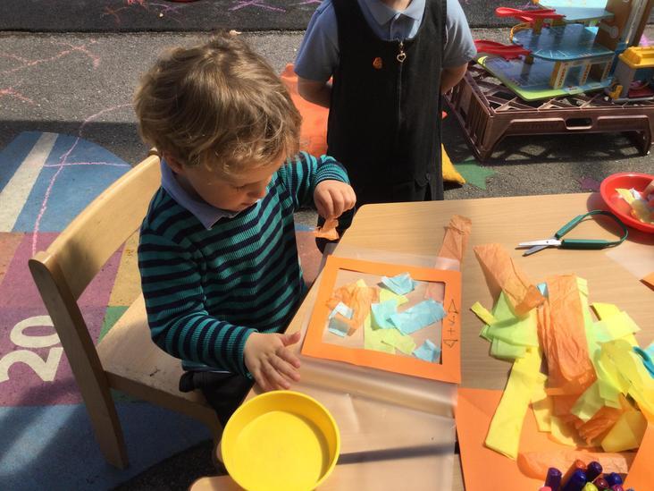 Creating a sun catcher.