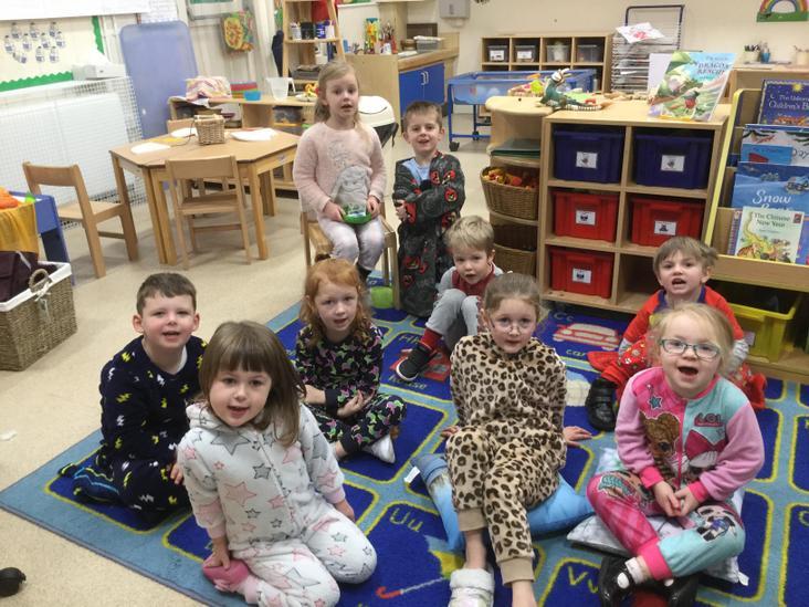 The Reception children in their pjs!