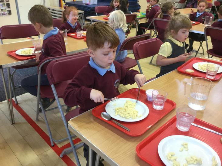 Enjoying school lunches