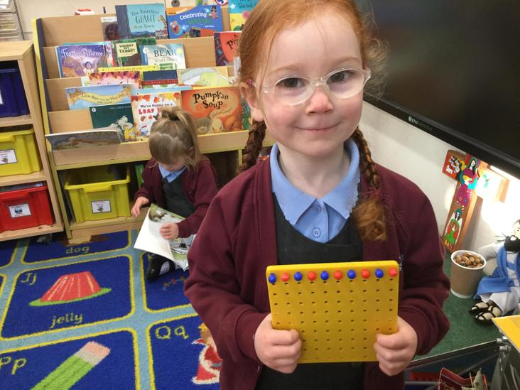 Peg board repeating patterns in our continuous provision