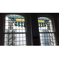 Stained glass windows in the Sukkot room
