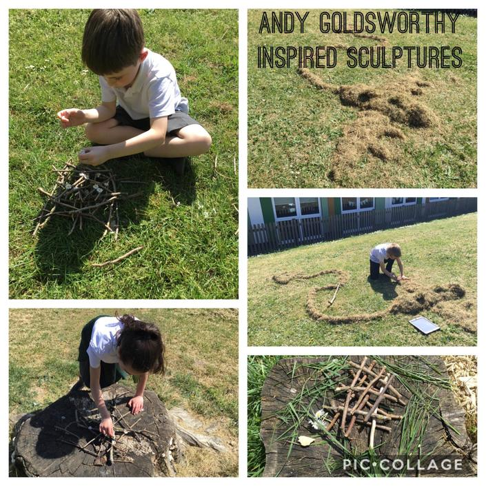 Andy Goldsworthy inspired nature sculptures