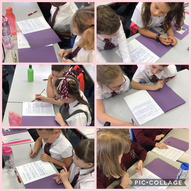 Children worked hard writing and peer assessing their writing.