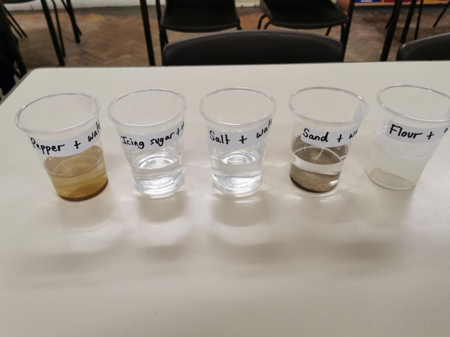 Mixing different solid materials with water
