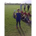 Captain Kallum Barr with the league winners trophy
