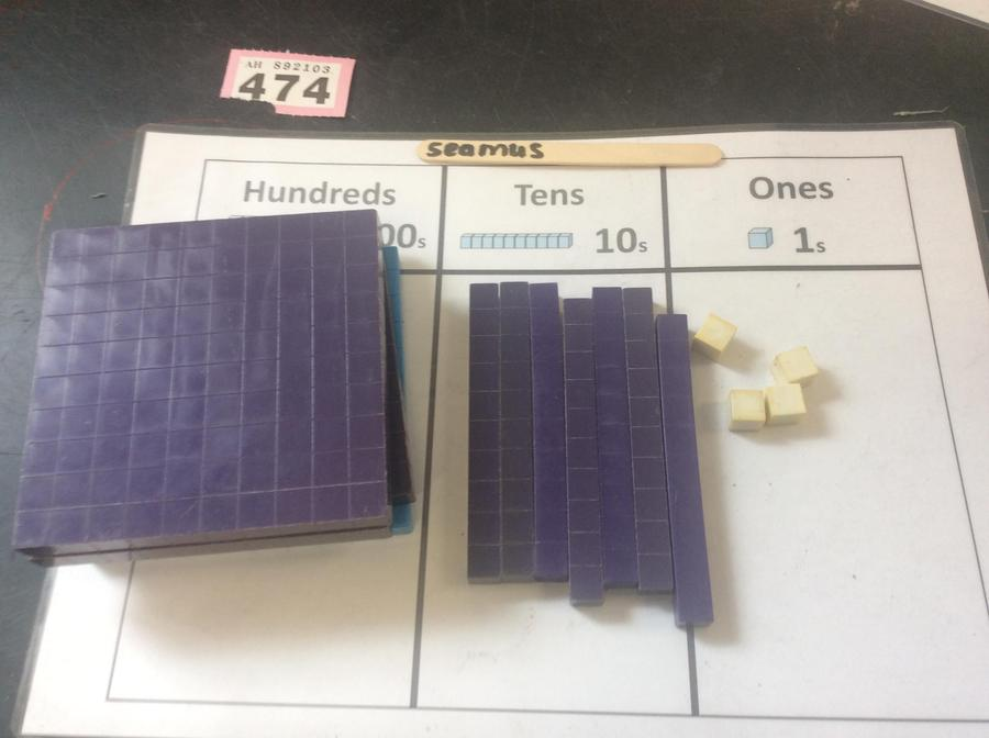 Representing numbers using concrete materials