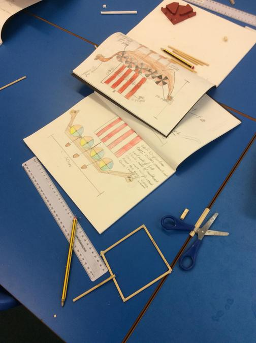 We followed our designs when decorating and creating our sail.