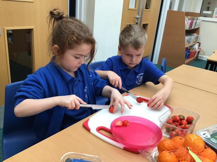 Year 2 practising key cutting and chopping skills