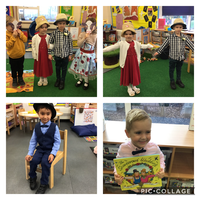 We dressed up and acted out the story.