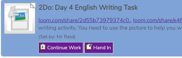 2Dos section, your work will show like this. Press 'Hand In' for your work to be marked.