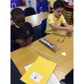 Concentrating on making our bracelets