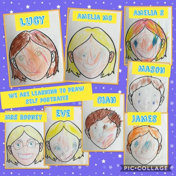 LSC1 created self-portraits as part of their topic 'All about me!'