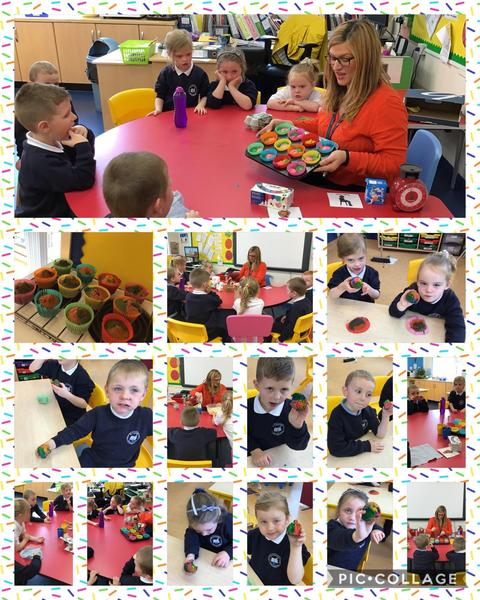 LSC1 enjoyed making rainbow cupcakes in cookery.