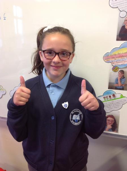 Estelle with her Blue Peter badge.
