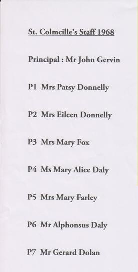 1968 Teachers in (New) St Colmcille's PS