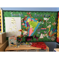 Our South America display showing our flags and carnival masks.